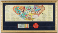 1959 Vintage Disneyland 15x26 Custom Framed Map Display With (1) Ticket Booklet & (1) Vari-Vue Disneyland Pin at PristineAuction.com