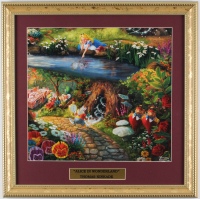 "Thomas Kinkade Walt Disney's ""Alice In Wonderland"" 16x16 Custom Framed Print Display at PristineAuction.com"