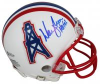 "Warren Moon Signed Oilers Throwback Mini Helmet Inscribed ""HOF 06"" (Beckett COA) at PristineAuction.com"