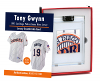 TONY GWYNN 1997 SAN DIEGO PADRES GAME WORN JERSEY MYSTERY SWATCH BOX! at PristineAuction.com