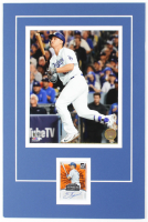 Joc Pederson 2016 Donruss Signature Series Orange #SGSJP 12x18 Custom Matted Card Display with Photo (Palm Beach COA) at PristineAuction.com