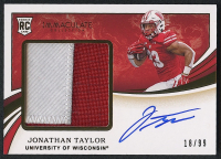 Jonathan Taylor 2020 Immaculate Collection Collegiate #116 Autograph Patch Relic RC #18/99 at PristineAuction.com