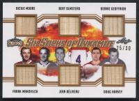 2019-20 Leaf Lumber Kings Hockey Six Sticks of Dynamite Relic #SSD-07 Dickie Moore / Bert Olmstead / Bernie Geoffrion / Frank Mahovlich / Jean Beliveau / Doug Harvey at PristineAuction.com