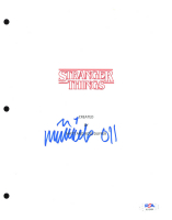 """Millie Bobby Brown Signed """"Stranger Things"""" 8x10 Script Cover Inscribed """"011"""" (PSA Hologram) at PristineAuction.com"""