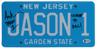 """Ari Lehman Signed """"Friday the 13th"""" New Jersey License Plate Inscribed """"Jason 1"""" & """"License To Kill!"""" (Beckett COA) at PristineAuction.com"""
