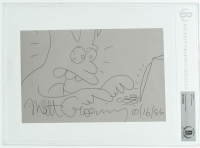 """Matt Groening Signed """"The Simpsons"""" 5.5x8.5 Hand-Drawn Sketch Inscribed """"10/16/86"""" (BGS Encapsulated) at PristineAuction.com"""
