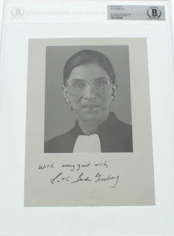 """Ruth Bader Ginsburg Signed 6x8 Photo Inscribed """"With Every Good Wish"""" (BGS Encapsulated) at PristineAuction.com"""