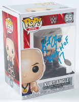 "Kurt Angle Signed WWE #55 Funko Pop! Vinyl Figure Inscribed ""WWE HOF '17"" (PSA Hologram) at PristineAuction.com"
