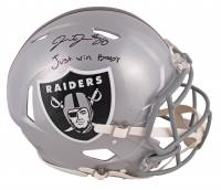 "Josh Jacobs Signed Oakland Raiders Full-Size Authentic On-Field Speed Helmet Inscribed ""Just Win Baby"" (Beckett COA & Jacobs Hologram) at PristineAuction.com"