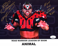 "Road Warrior Animal Signed WWE 8x10 Photo Print Inscribed ""Hall Of Fame 2011"" (JSA COA) at PristineAuction.com"