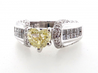 1.48ct Natural Fancy Yellow & White Diamond Ring 14kt White Gold (GIA & GAL Certified) at PristineAuction.com