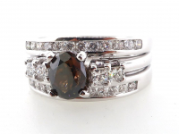2.18ct Natural Fancy Brown & White Diamond Ring 14kt White Gold (GIA & GAL Certified) at PristineAuction.com