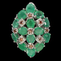 11.75ct Natural Emerald & Orange Sapphire Ring (GAL Certified) at PristineAuction.com