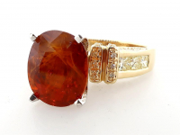 9.57ct Natural Orange Sapphire & Diamond Ring 14kt Gold (GAL Certified) at PristineAuction.com