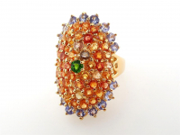 5.96ct Natural Multi-Colored Sapphire & Tanzanite Ring (GAL Certified) at PristineAuction.com
