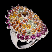 6.35ct Natural Multi-Colored Sapphire & Rhodolite Garnet Ring (GAL Certified) at PristineAuction.com