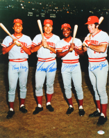 "1970's Reds ""Big Red Machine"" 16x20 Photo Team-Signed by (4) with Tony Perez, Johnny Bench, Joe Morgan, & Pete Rose (PSA LOA) at PristineAuction.com"