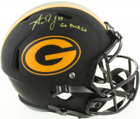 """Aaron Jones Signed Packers Full-Size Eclipse Alternate Speed Helmet Inscribed """"Go Pack Go"""" (Beckett COA) at PristineAuction.com"""