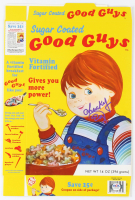 """Ed Gale Signed """"Chucky"""" Sugar Coated Good Guys Cereal Box Inscribed """"Chucky"""" (PSA COA) at PristineAuction.com"""