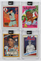Lot of (4) 2020 Topps Project Baseball Cards with Bob Gibson #84 / Ermsy, Willie Mays #80 / Sophia Chang, Mike Trout #63 / Fucci, Dwight Gooden #65 / Mister Cartoon at PristineAuction.com
