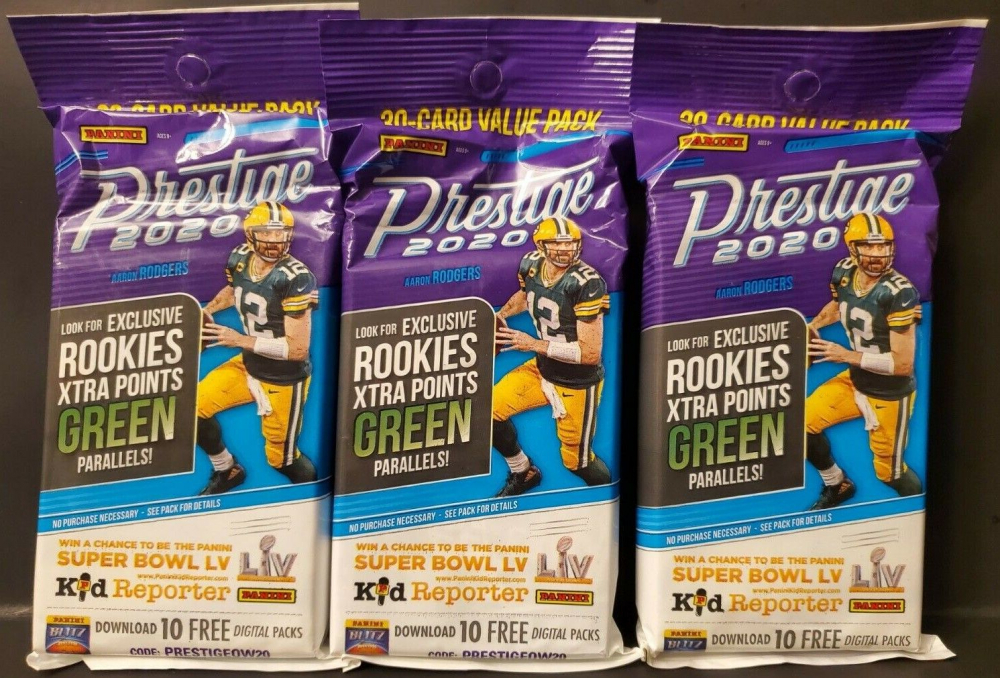 Lot of (3) 2020 Prestige Football Jumbo Value Packs with (30) Cards Each at PristineAuction.com