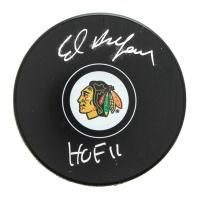 """Ed Belfour Signed Blackhawks Logo Hockey Puck Inscribed """"HOF 11"""" (SideLine Hologram) at PristineAuction.com"""