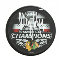 Niklas Hjalmarsson Signed 2015 Stanley Cup Champions Logo Hockey Puck (JSA Hologram) at PristineAuction.com
