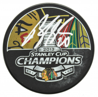 Brandon Saad Signed 2013 Stanley Cup Champions Logo Hockey Puck (SideLine Hologram) at PristineAuction.com