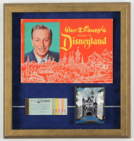 Vintage 1963 Walt Disney's Guide to Disneyland 16x17 Custom Framed Souvenir Program Display With Ticket Book & Souvenir Tray at PristineAuction.com