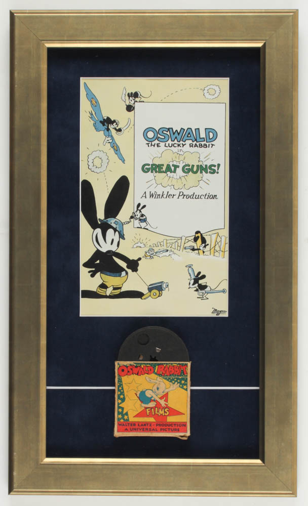 "Vintage 1940's Walt Disney's Oswald the Lucky Rabbit ""Great Guns!"" 12x20 Custom Framed 8mm Film & Original Box With Print at PristineAuction.com"