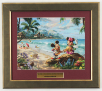 "Thomas Kinkade Walt Disney's ""Mickey & Minnie Mouse in Hawaii"" 14x16 Custom Framed Print Display at PristineAuction.com"
