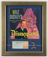 Vintage 1960's Walt Disney's Disneyland 16x18 Custom Framed Souvenir Guide Display With Ticket Book & Pewter Mickey Mouse at PristineAuction.com