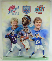 Phil Simms, Ottis Anderson & Eli Manning Signed Giants Super Bowl MVP's 32x40 Canvas Print with (3) MVP Inscriptions (JSA COA) at PristineAuction.com
