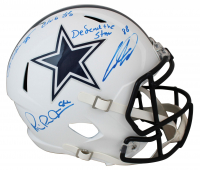 "Michael Irvin, Drew Pearson, & CeeDee Lamb Signed Cowboys Matte White Speed Full-Size Helmet Inscribed ""Defend The Star"" & ""Club 88"" (Beckett COA & Fanatics Hologram) at PristineAuction.com"