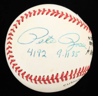 """Pete Rose Signed ONL Baseball Inscribed """"4192"""" & """"9-11-85"""" (Beckett COA) at PristineAuction.com"""