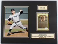 """Edward Charles """"Whitey"""" Ford Signed Yankees 14x18 Custom Matted Hall of Fame Plaque Postcard Display (JSA COA) at PristineAuction.com"""