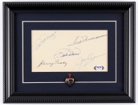 Red Sox Legends 10x13 Custom Framed Cut Display Multi-Signed by (5) with Ted Williams, Dom DiMaggio, Johnny Pesky, Bobby Doerr & Joe Cronin with Fenway Park Lapel Pin (PSA LOA) at PristineAuction.com