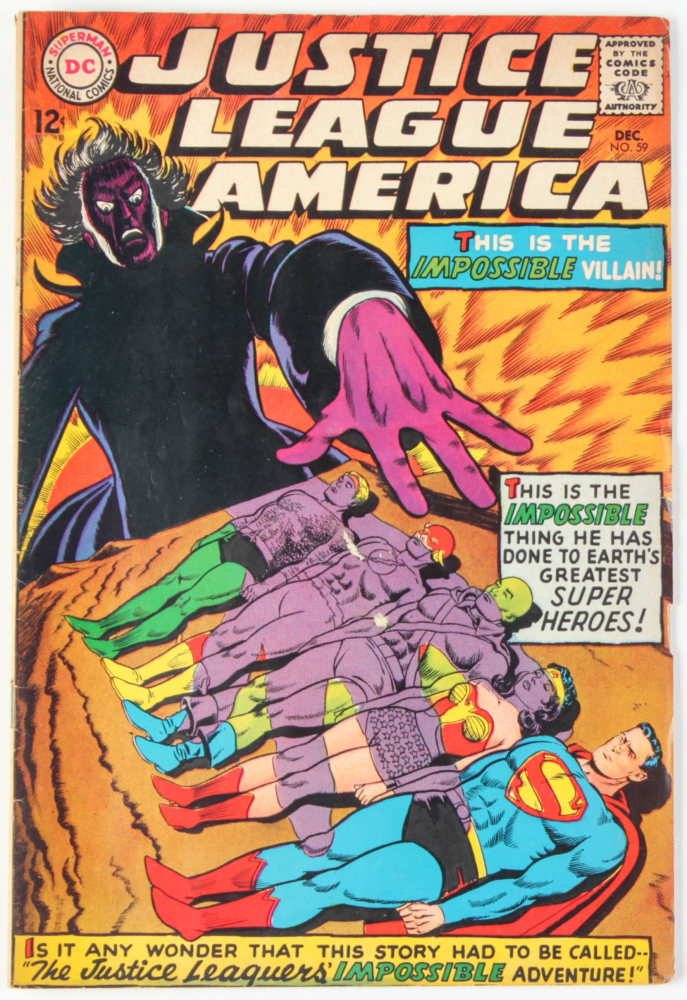 """Vintage 1967 """"Justice League of America"""" Issue #59 DC Comic Book at PristineAuction.com"""