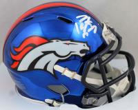 Peyton Manning Signed Broncos Chrome Mini Speed Helmet (Fanatics Hologram) at PristineAuction.com