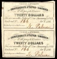 Uncut Sheet of (2) 1861 Confederate States of America Richmond CSA $20 Twenty Dollar Bond Coupons at PristineAuction.com