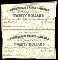 Uncut Sheet of (2) 1861 Confederate States of America Richmond CSA $20 Twenty Dollar Bond Coupons at PristineAuction.com