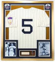 Joe DiMaggio Signed Yankees 32x36 Custom Framed Cut Display with 1951 Yankees Throwback Jersey & (2) World Series Championship Pins (PSA LOA) at PristineAuction.com