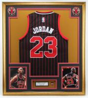 Michael Jordan Bulls 32x36 Custom Framed Jersey Display with Bulls Three Peat Pin at PristineAuction.com