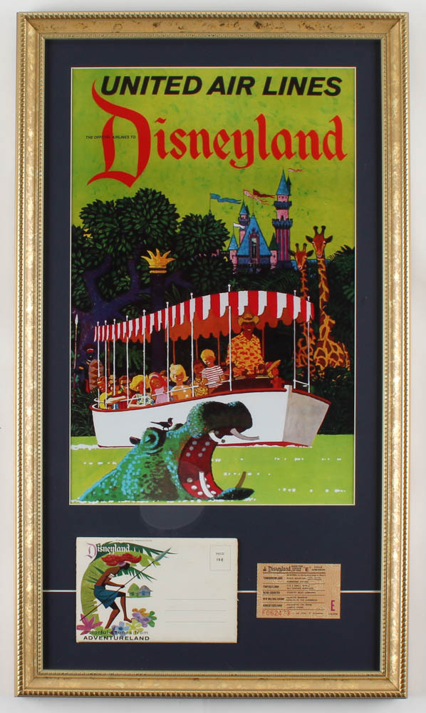 Disneyland United Airlines 15x26 Custom Framed Print Display with Vintage Photo Portfolio & Vintage Ticket at PristineAuction.com