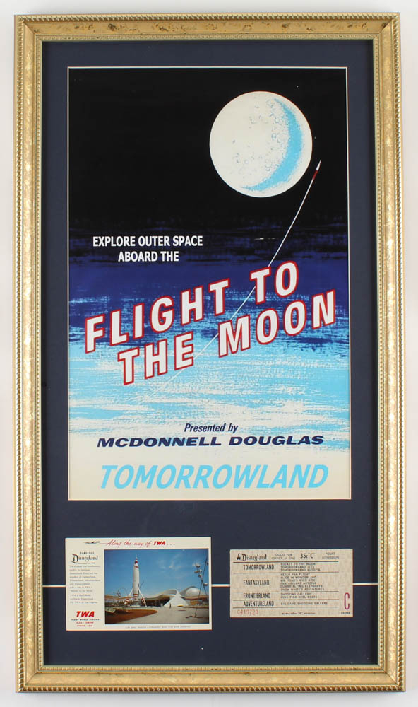 """Disneyland """"Flight To The Moon"""" 15x26 Custom Framed Print Display with Vintage TWA Ride Card & Vintage Ticket at PristineAuction.com"""