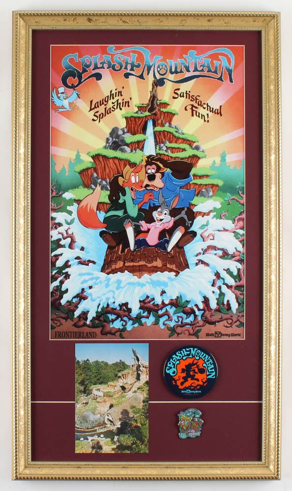 "Walt Disney World ""Splash Mountain"" 15x26 Custom Framed Print Display with Vintage Postcard, Lapel Pin & Ride Pin at PristineAuction.com"