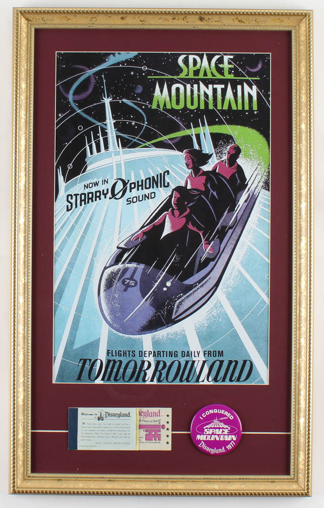"""Disneyland Tomorrowland's """"Space Mountain"""" 15x24 Custom Framed Print Display with Vintage Ticket Book & 1977 Ride Pin at PristineAuction.com"""