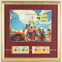Vintage Walt Disney World 17x17 Custom Framed Souvenir Guide Display with Matching Adult & Child Ticket Books at PristineAuction.com