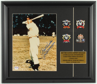 "Joe DiMaggio Signed Yankees 14x16 Custom Framed Photo Display Inscribed ""Best Wishes"" with (4) World Series Champions Pins (PSA LOA) at PristineAuction.com"