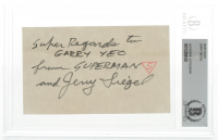 "Jerry Siegel Signed 3x5 Index Card Inscribed ""Super Regards"" & ""From Superman"" (BGS Encapsulated) at PristineAuction.com"